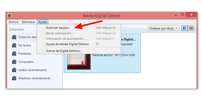 adobe digital editions autorizar